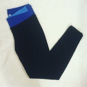 Old Navy Black Workout Leggings with Blue Band